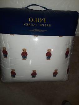 Ralph Lauren Polo Teddy Bear KING SIZE Comforter Boy White R