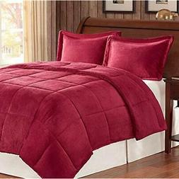 Premier Comforter Corduroy/Berber Mini Set, Full/Queen, Burg