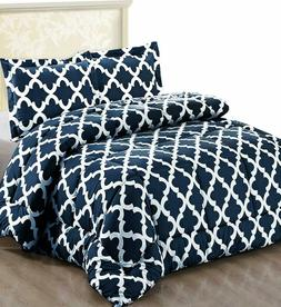 Printed Comforter Set with 2 Pillow Shams Goose Down alterna