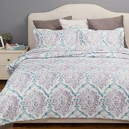 Printed Coverlet Twin Size  2-Piece Bed Cover Floral Paisley