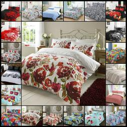 PRINTED DUVET QUILT COVER BEDDING SET REVERSIBLE WITH PILLOW