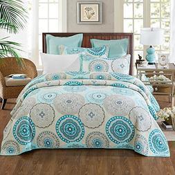 NEWLAKE 3 Pieces Quilt Bedspread Set, Blue Aqua Boho Medalli