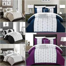 Chic Home Priston 6 Piece Embroidered Comforter Set Color Bl