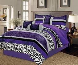 7 Pc Purple Black White Grey Zebra Leopard Micro Fur Comfort