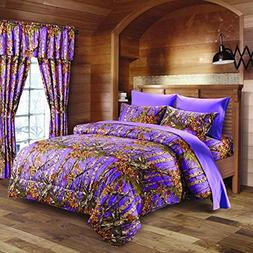 20 Lakes Purple Primitive Rustic Woodland Camo Comforter and