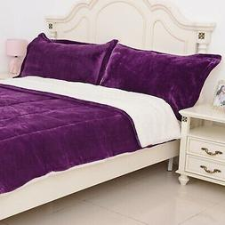 Purple Quilted Micro Velvet 100% Polyester Flannel 3 pcs Com