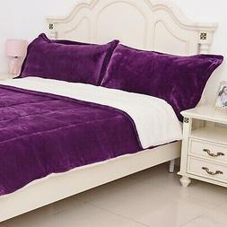 Purple Quilted Microfiber Plush Flannel Sherpa Comforter 3pc