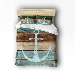 Vandarllin Queen Size Bedding Set- Nautical Anchor Rustic Wo