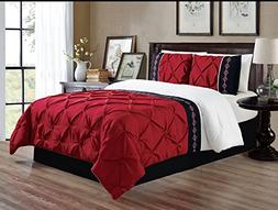 Grand Linen 3 Piece Queen Size Burgundy Red/Black/White Doub