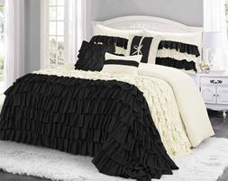 Queen Cal King Bed Ivory Cream Black Ruffles Ruched 7 pc Com