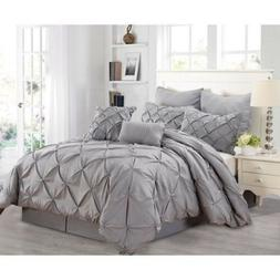 Queen Cal King Size Bed Solid Grey Gray Pintuck Pleat 8 pc C