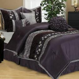 Queen Cal King Size Purple Gray Grey Floral Stripe 7 pc Comf