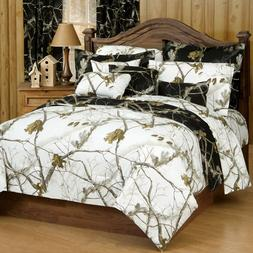 Queen Camo Comforter Realtree Bedding Set Black Camouflage S
