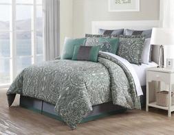 9 Piece Queen Clara 100% Cotton Comforter Set