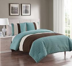 VCNY Home Full/Queen Size Comforter Set in Aqua Luxe Geometr