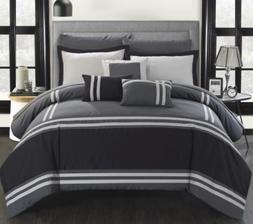 Queen Comforter Set Bedding Bedspread Grey Gray and Black Wi