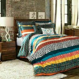 Queen Comforter Set Bedding Boho Bohemian Vibrant Stripe Col