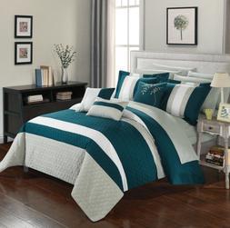 Queen Comforter Set Bedding Sets For Women Teal Green Grey B