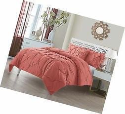 Queen Size Comforter Set in Coral Posh Pintuck 4 Pc Set w/ D