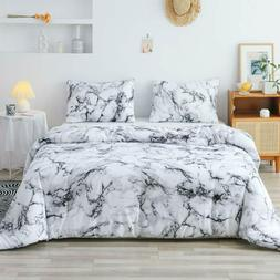 Smoofy Queen Comforter Set, White Marble Pattern Printed Bed