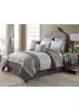 Queen Size Complete BED-IN-A-BAG in Taupe Luxurious 8 Pc Set