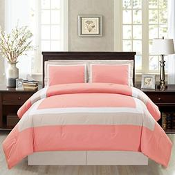 4 Piece QUEEN Size CORAL PINK / WHITE / GREY Color Block MIL