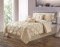 Grand Linen 7 Pieces QUEEN size Ivory Double-Needle Stitch P