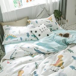 HIGHBUY Queen Kids Bedding Sets Full Cotton Dinosaur Animal