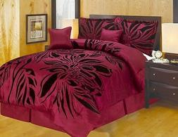 Queen King and or Curtain Modern Style Burgundy Black Comfor
