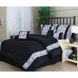 Queen King Bed Black White Zebra Animal Print Stripe 7 pc Co