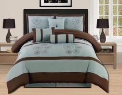Queen King Bed Brown Aqua Blue Floral Embroidered 7 pc Comfo