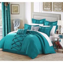 Queen King Bed Turquoise Blue Ruffles Pintuck Pleat 8 pc Com