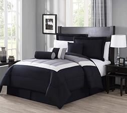 KingLinen 7 Piece Queen Rosslyn Black/Gray Comforter Set