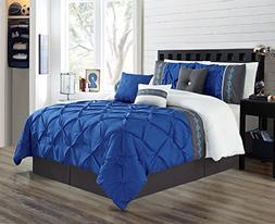 Grand Linen 7 Pieces QUEEN size Royal Blue/Grey/White Double