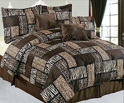 7 Piece Queen Safari Brown Patchwork Micro Suede Comforter S