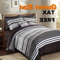 Queen Size Comforter Sheet Bedding Set Striped Bedroom Bed B