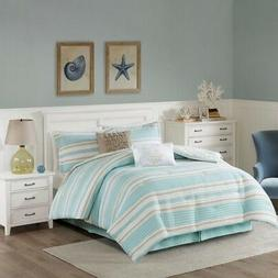 Cal King Size Ocean Reef 6 Piece Quilted Comforter Set Cotto