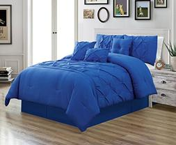 Grand Linen 7 Piece QUEEN size Solid ROYAL BLUE Double-Needl