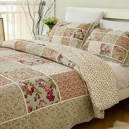 Brandream Queen Size Vintage Floral Patchwork Quilted Bedspr