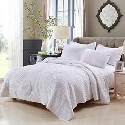 Brandream White Quilts Set Queen Size Farmhouse Bedding Shab