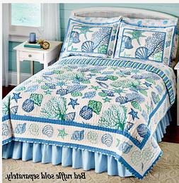 Quilt Comforter Set Seashells Beach Shams Starfish Ocean Sea