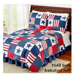 Quilt Patriotic Comforter Set Stars Stripes Flag American US