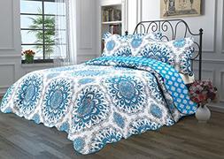 3 Piece Quilt Set with Shams Reversible Bedspread Matelasse