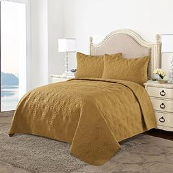 HollyHOME Snowflake Quilt Set Collection, Solid Lightweight