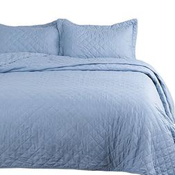 "Bedsure Blue Quilt Set-Full Queen Size Bedspread 90""x96"" -3"