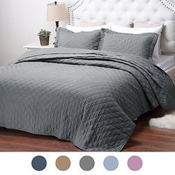 Bedding Quilts Solid Grey Twin Diamond Pattern 2-Piece Bedsp