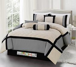 7-Pc Quilted Diamond Square Patchwork Modern Comforter Set S