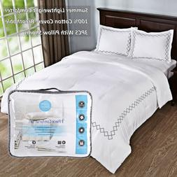 3PCS Lightweight Quilted Comforter Set With Pillow Cases 100