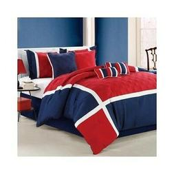 Chic Home Quincy 8 Piece Comforter Set Size: King, Color: Re