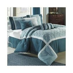 Quincy 8 Piece Comforter Set Size: Queen, Color: Blue